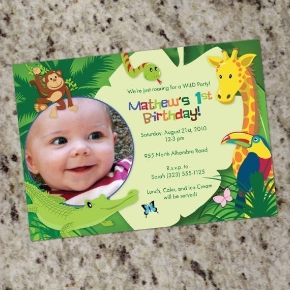 Party Animal 1st Birthday First Birthday Ideas: Jungle/Safari/Animals Birthday Invitations Custom Print