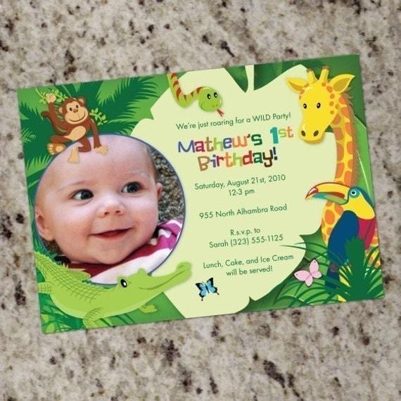 Jungle/Safari/Animals Birthday Invitations Custom Print