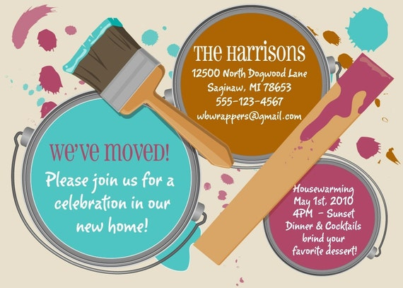 Custom Moving Housewarming Annoucement - PAINT CANS - Print Your Own