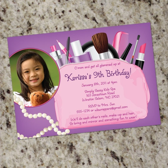 Girls Glamour Spa Makeover Invitations Print Your Own by – Makeover Party Invitations