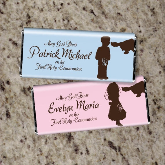 60 Personalized First Communion Candy Bar Wrappers Boy Or
