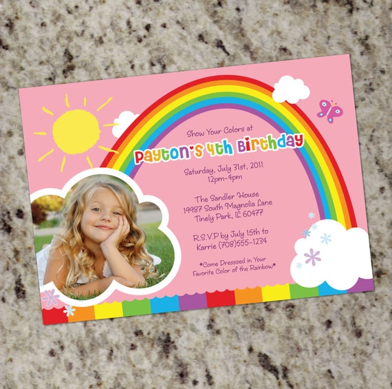 RAINBOW PARTY Birthday Party Invitations Printable Design by
