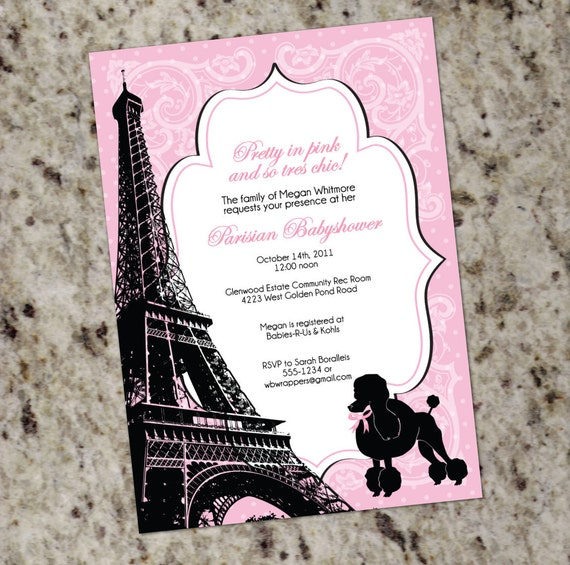 Paris themed Baby Shower Invitation - Pink and Black ...