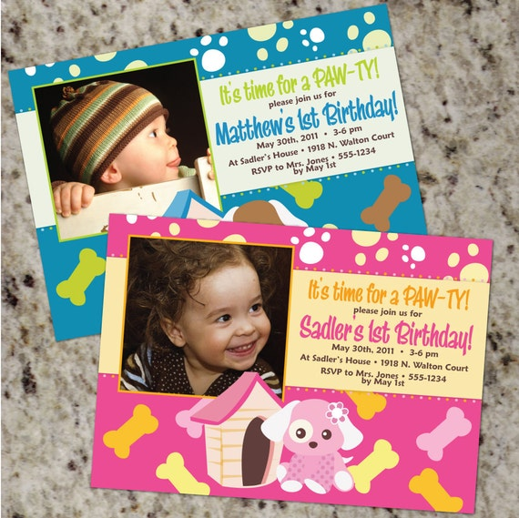 PUPPY PARTY Invitations - Boy or Girl - Printable Design