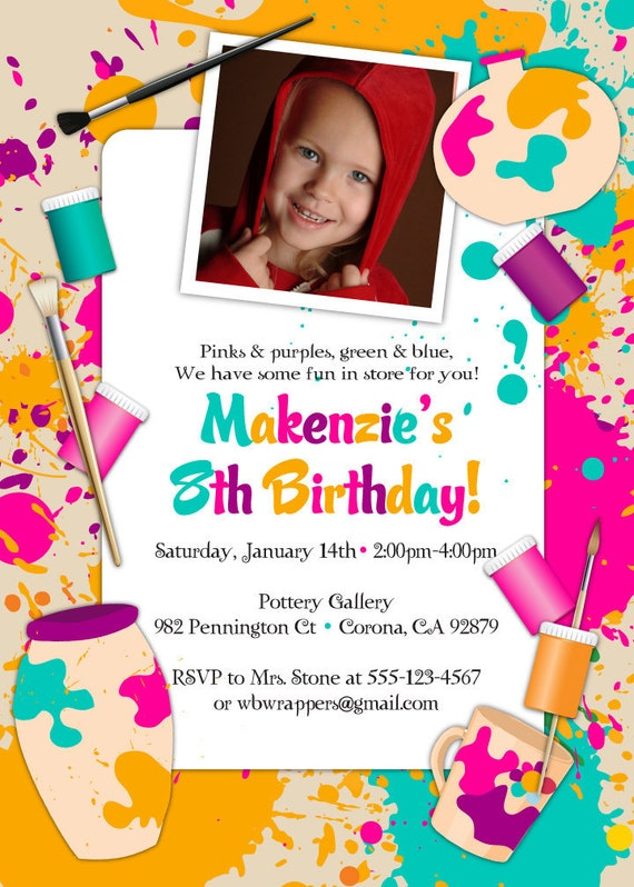 Paint Your Own Pottery Birthday Party Invitation Printable – Pottery Painting Party Invitations