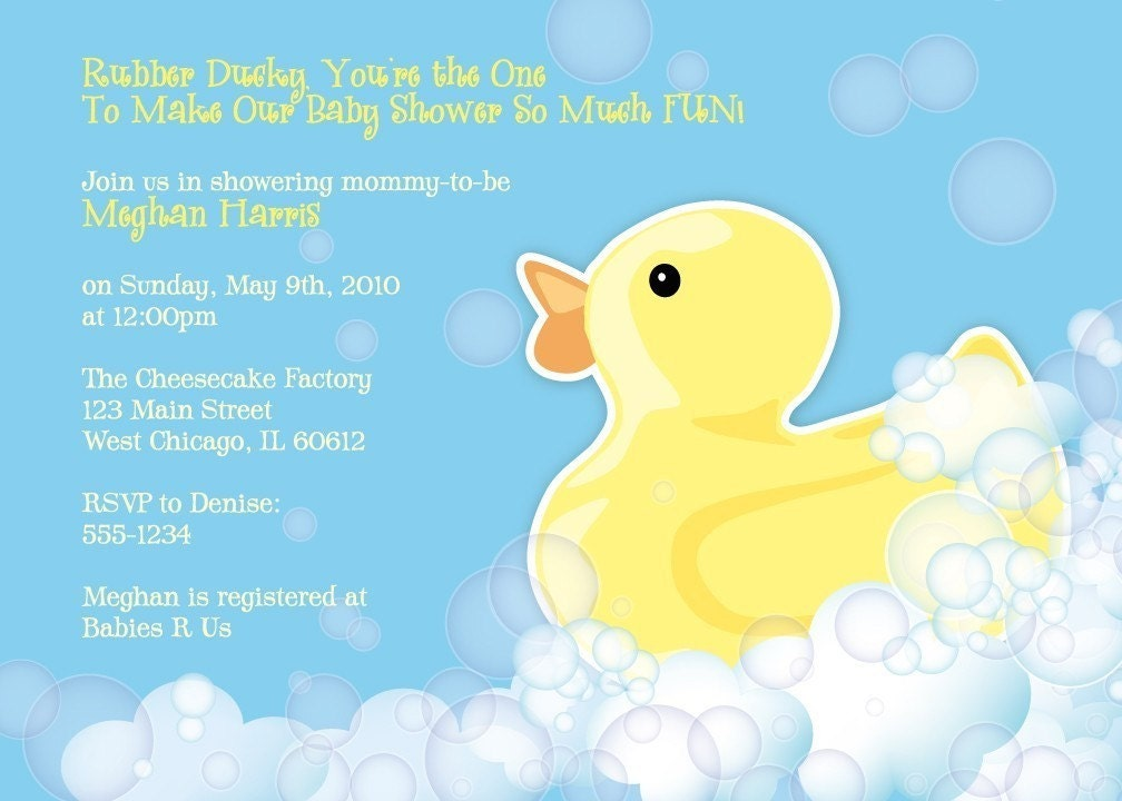 Rubber Duckie Baby Shower Invitation Rubber Ducky Shower