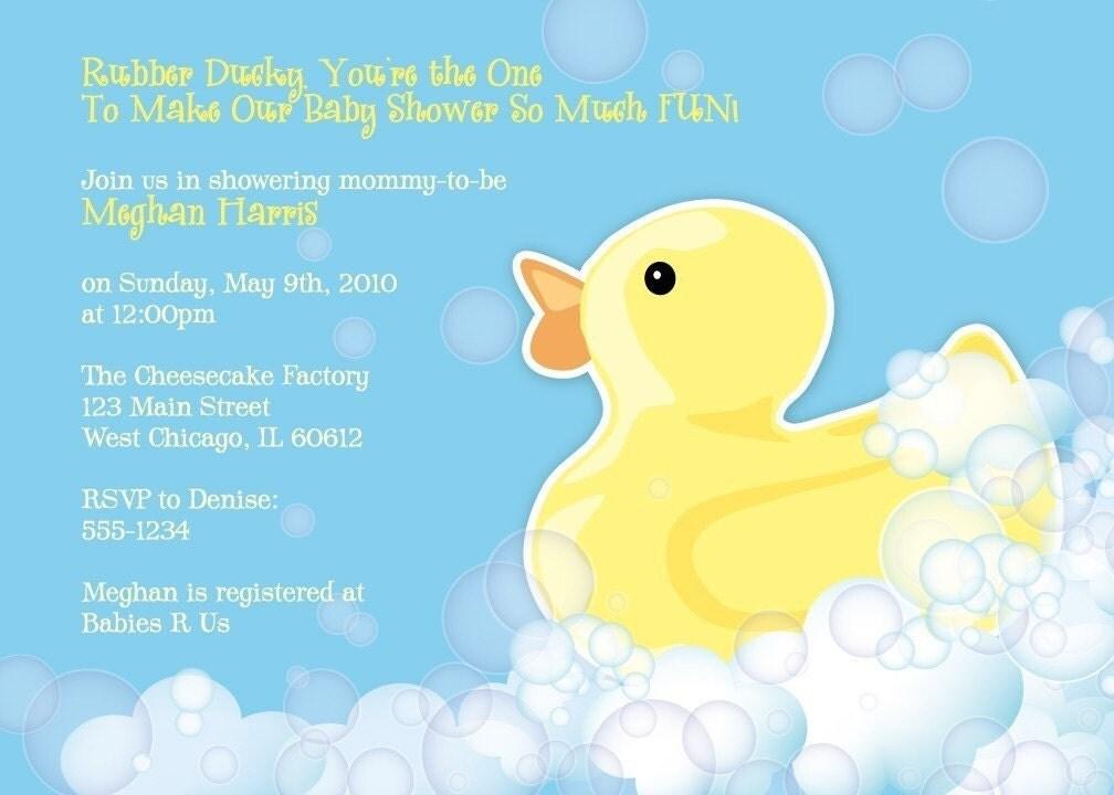 Rubber Duckie Baby Shower Invitation Printable Design