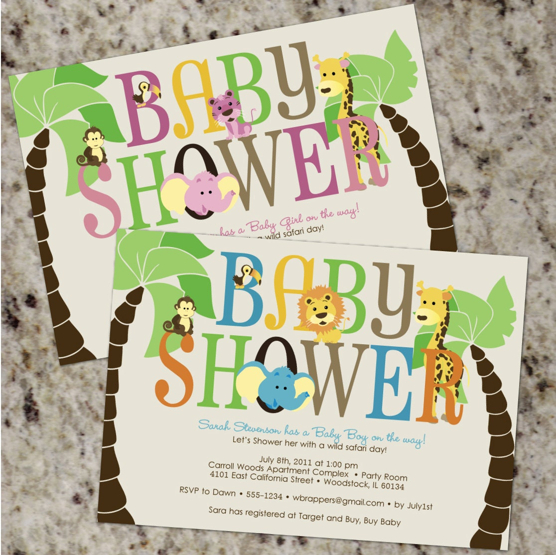 Jungle Animal Baby Shower Invitations Boy Baby Shower Girl
