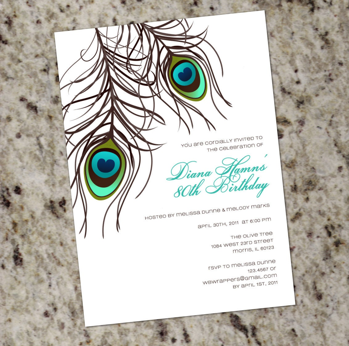 Peacock feather invitation template - photo#20