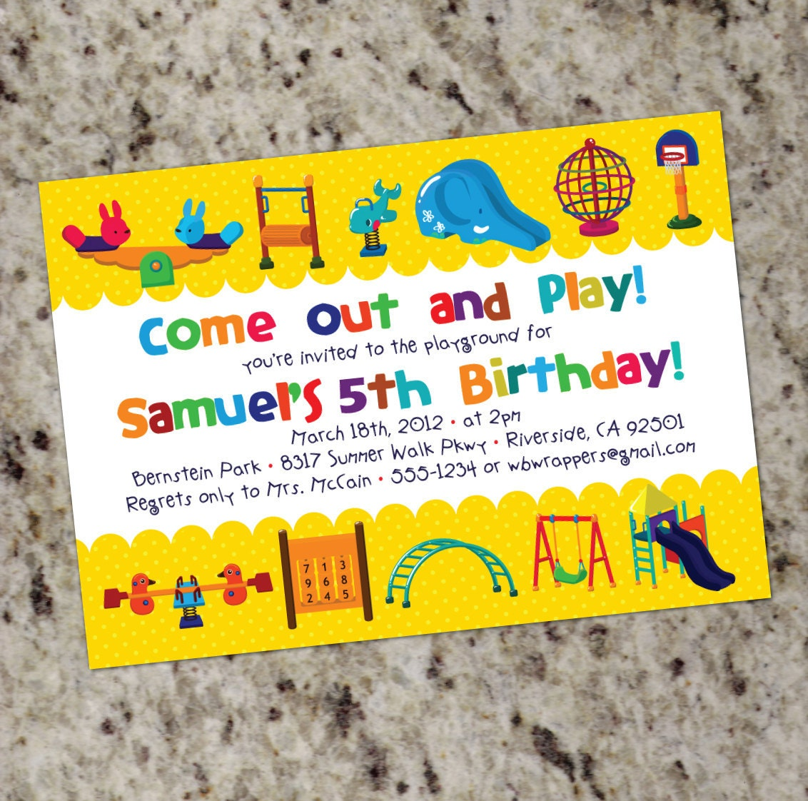 PLAYGROUND Themed Birthday Party Invitations Printable – Playground Birthday Invitations