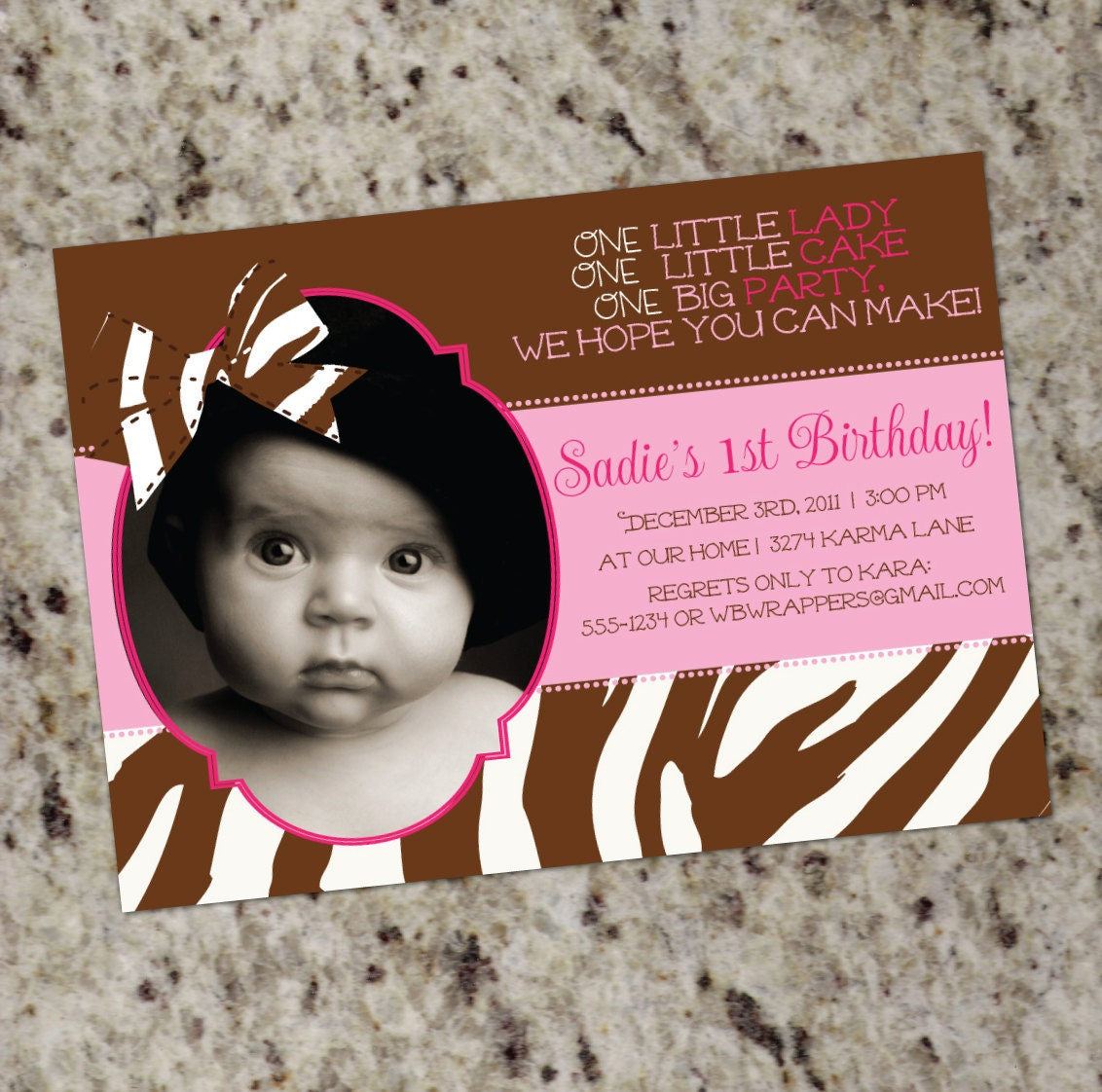 Pink Zebra Print Girls 1st Birthday Invitation: Zebra Bow 1st Birthday Photo Invitations Print Your Own