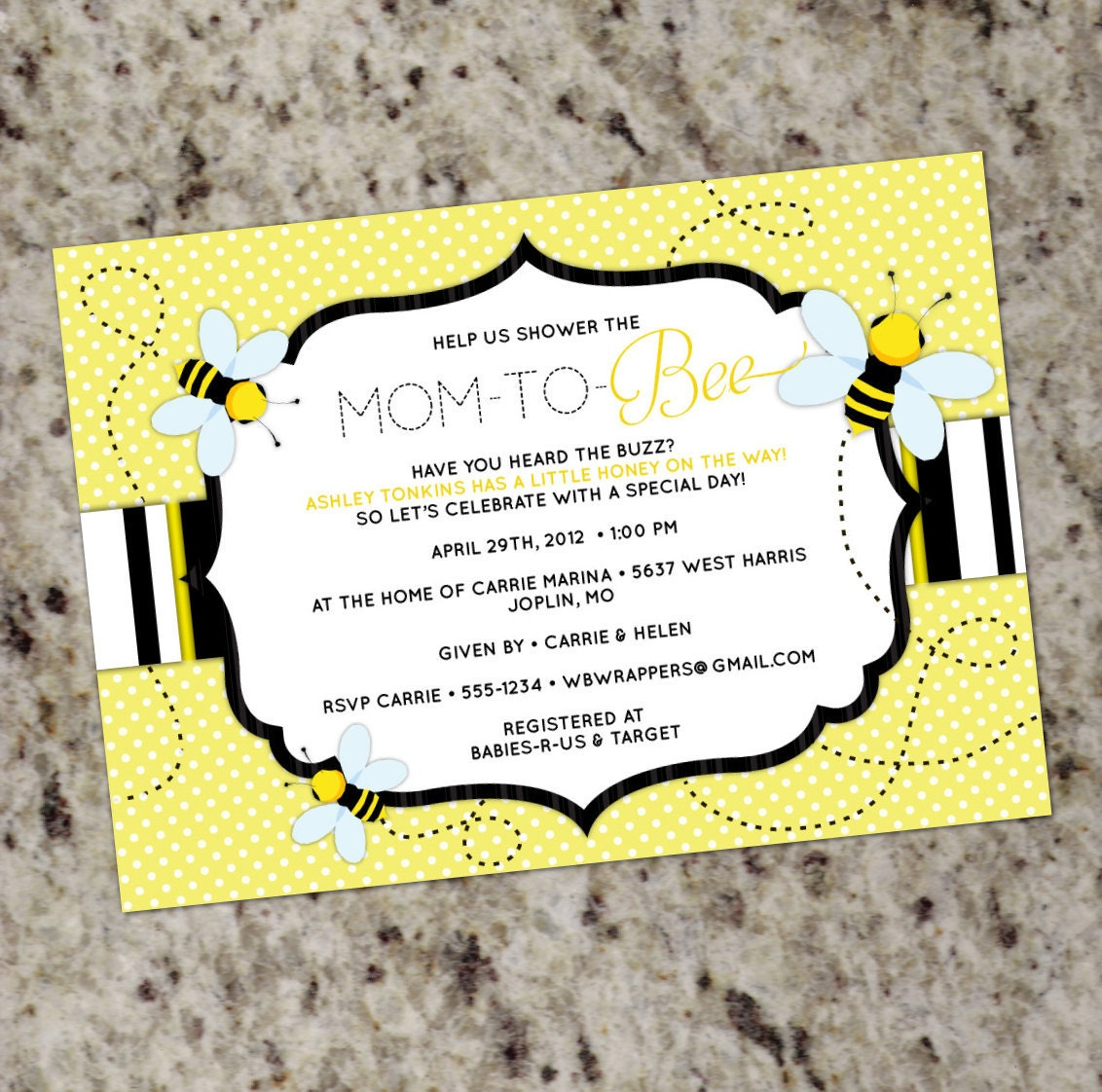 Bee Baby Shower Invitation Bay