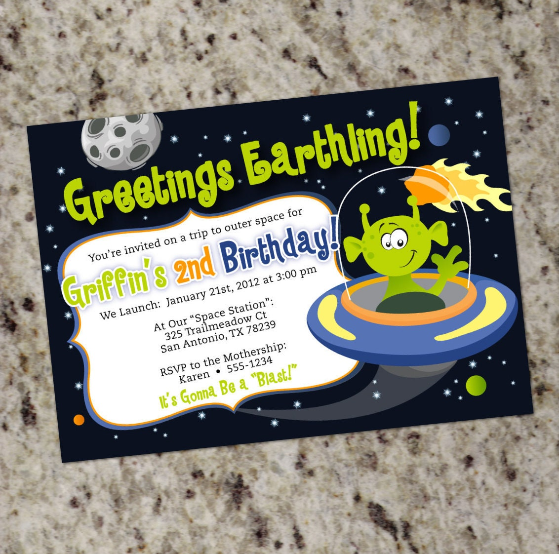 Space Alien Party Invitation Outer Space Planets Printable – Space Party Invitation