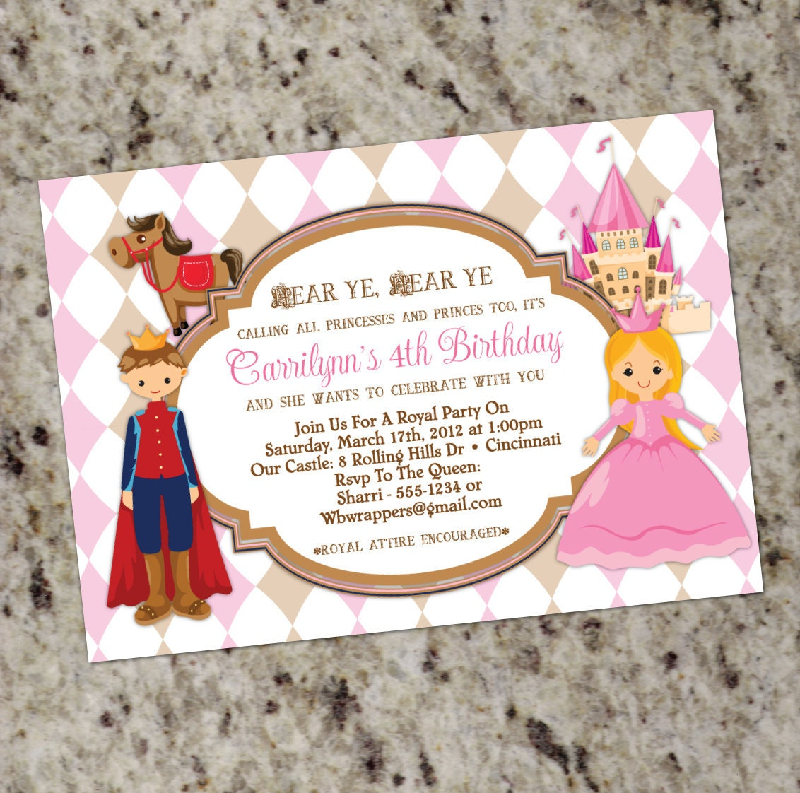 princess and prince birthday party invitations calling all