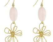 Gold and Pink Flower Earring