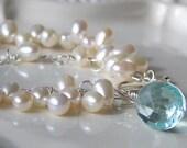 Cream Double Stranded Freshwater Pearl Bracelet with Blue Quartz