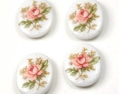 8pcs Pink Rose White flower glass Oval Cabochons 10x8mm