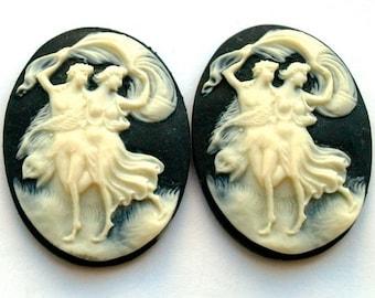 2 pcs  Resin Romantic Grecian dancing Couple Cameo Cabochon Plastic -off white cream color and black 40x30mm