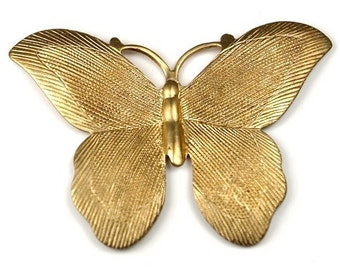 1 pc Large Raw Brass Textured Butterfly stamping pendant charm