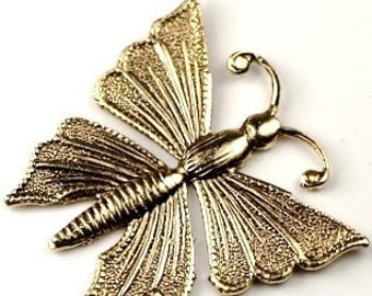 6 pcs  Gold plated brass Shiny Butterfly charm stampings