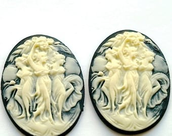 2 pcs  Resin Romantic Grecian Cameo Cabochon Dancing maidens Women Lady plastic - off white cream color and black 40x30mm