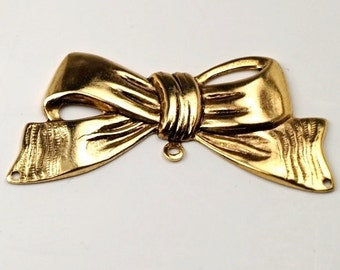 4 pcs Large Gold plated brass Bow Ribbon Charm Connector - Has one hole on each end of the ribbon