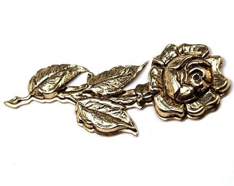 1 pc Gold plated Brass Rose Charm Stamping Pendant