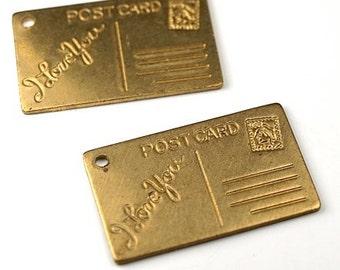 4 pcs Raw Brass I Love You Postcard Charms