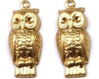 6 pcs Raw Brass Owl Charms Stampings