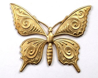 1 pc Large Raw Brass Victorian Monarch Butterfly Stamping Pendant