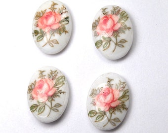 4 pcs Vintage pink Rose flower Oval Cabochons - Due to their vintage nature, cabochons have a marking/indentation on the side  14x10mm