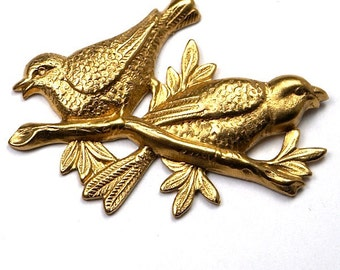 1 pc Raw Brass Love Birds Sitting on a Branch Stampings Pendant
