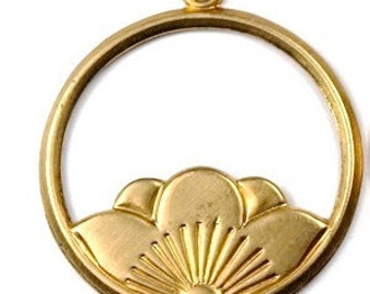 4 pcs Raw Brass round Lotus Flower blossoms Charms Stampings Pendants