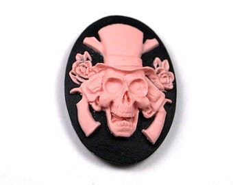 4 pcs Oval Cameo Pink Skull and Roses Black Guns and Roses 25x18mm