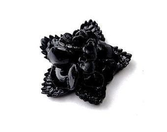 4pcs Shiny Vintage Acrylic Black Rose Cabochon 18mm
