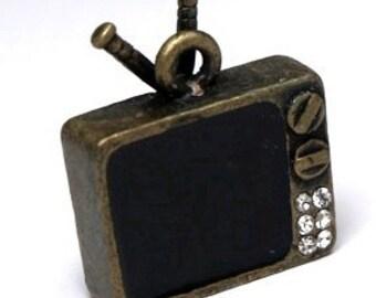 1 pc  Antiqued Bronze Tv television enamel crystal rhinestones charm Pendant