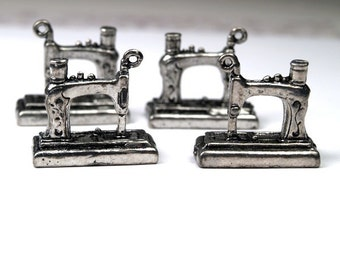 4 pcs Sewing Machine charms Silver tone alloy Metal - Antique silver tone