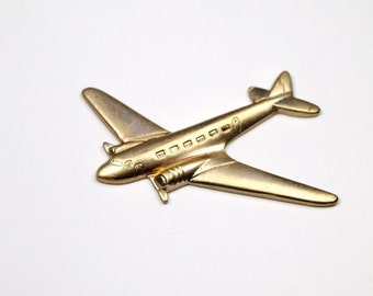 2 pc Raw Brass Airplane Stamping Golden Pendant
