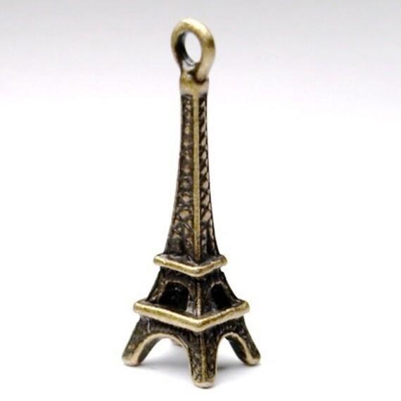 6 pcs Antiqued brass Eiffel Tower Paris Charms Pendant  24x8mm