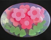 Flower Soap in custom colors and scents entirely made of glycerin soap