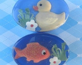 Child's Orange and Lemon Soapset Goldfish and Ducky in vegetable glycerin, natural colors, essential oils