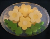 Flower Soaps 3 Dimensionally Layered in yellow, blue, red, pink, purple, white