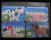 Soap Set - Farm Animal Barnyard Soaps (ENTIRELY made of soap) Cow, Horse, Pig, Chickens