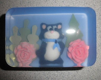 Child's Black and White Tuxedo Cat Soap with natural colors and essential oils
