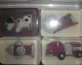 FireTruck and Fire Dept Soap with Dalmation