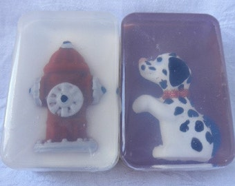 Dog and Fire Hydrant soapset