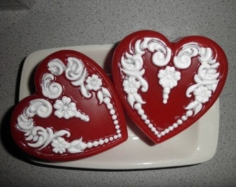 Valentine Heart Soap in choice of color and scent, cherry, rose, lavender, floral, seabreeze