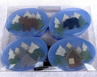Woodland Art Soap Set with Moose, Bear, Wolf, and Log Cabin