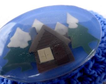 Log Cabin Art Soap in Cool Water