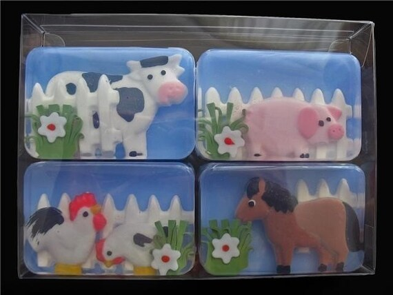 Farm Animal Barnyard Gentle Soaps (ENTIRELY made of soap) Cow, Horse, Pig, Chickens